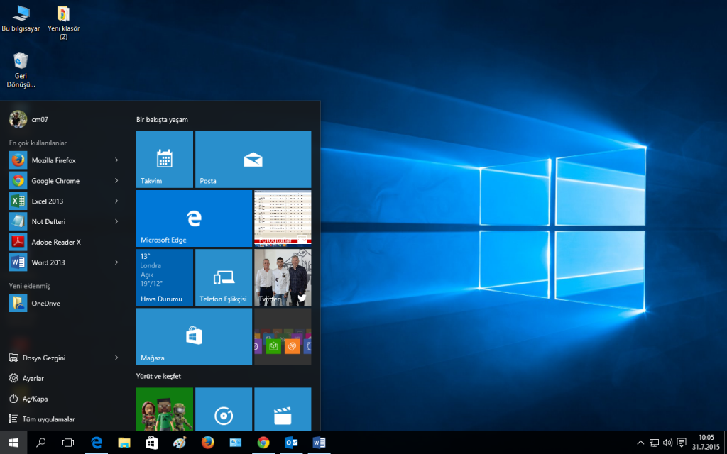 Windows 10 Screen Baslat Menusu